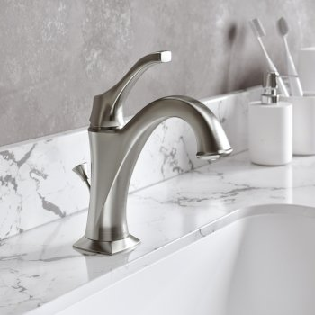 "Kraus Arlo™ Spot-Free all-Brite Brushed Nickel Single Handle Basin Bathroom Faucet with Lift Rod Drain and Deck Plate, Faucet Height: 8"", Spout Reach: 5"""