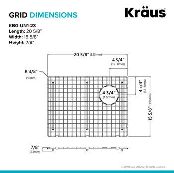 "Grid Dimensions for 23"" Sink"