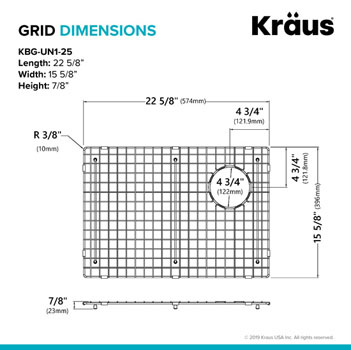 "Grid Dimensions for 25"" Sink"