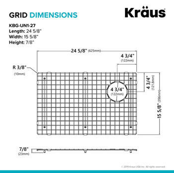 "Grid Dimensions for 27"" Sink"