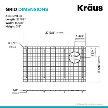 "Grid Dimensions for 30"" Sink"