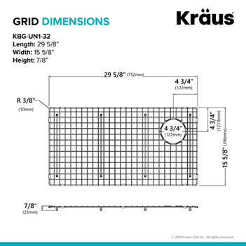 "Grid Dimensions for 32"" Sink"