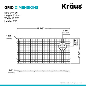 "Grid Dimensions for 36"" Sink"
