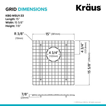 "Grid Dimensions for 33"" Sink"