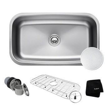 "Kraus Outlast MicroShield™ 31-1/2"" Scratch-Resist 16-Gauge Stainless Steel Undermount Single Bowl Kitchen Sink"