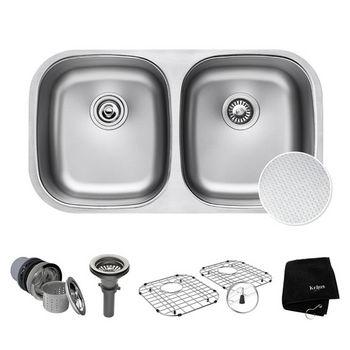 "Kraus Outlast MicroShield™ 32"" Scratch-Resist 16-Gauge Stainless Steel Undermount 50/50 Double Bowl Sink"