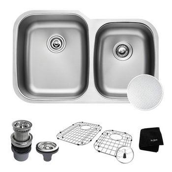 "Kraus Outlast MicroShield™ 32"" Scratch-Resist 16-Gauge Stainless Steel Undermount 60/40 Double Bowl Sink"