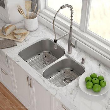 "Kraus Kraus Outlast MicroShield™ 32"" Scratch-Resist 16-Gauge Stainless Steel Undermount 60/40 Double Bowl Sink"