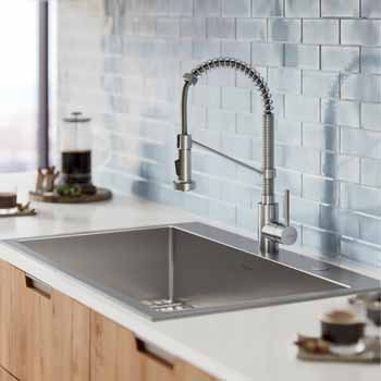 Stark 33 Dual Mount Kitchen Sink And Pull Down Commercial Kitchen Faucet Combo In Stainless Steel Measuring 33 W X 22 D X 9 H By Kraus Kitchensource Com