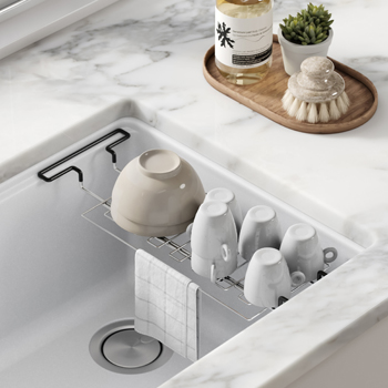 Stainless Steel Expandable Kitchen Sink Drying Rack-Lifestyle