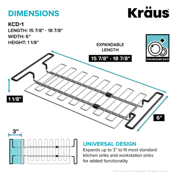 Stainless Steel Expandable Kitchen Sink Drying Rack-Dimensions