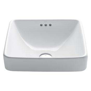 Kraus Elavo Ceramic Square Semi-Recessed Bathroom Sink with Overflow, White