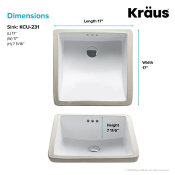 Kraus Elavo Ceramic Square Undermount Bathroom Sink with Overflow, White