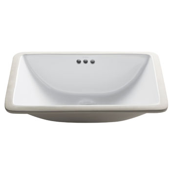Kraus Elavo White Ceramic Small Rectangular Undermount Bathroom Sink w/ Overflow