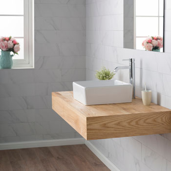 "Kraus White Square Ceramic Sink, 15-1/5"" W x 15-1/5"" D x 5-1/5"" H"