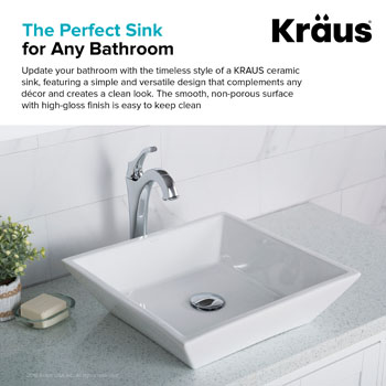 "Kraus White Square Ceramic Sink, 16-4/5"" W x 16-4/5"" D x 4-5/7"" H"