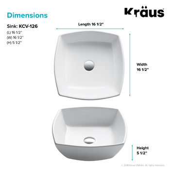 Kraus Elavo Ceramic Flared Square Vessel Bathroom Sink, White