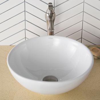 "Kraus White Round Ceramic Sink, 16"" Dia. x 6-1/4"" H"