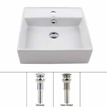 Kraus White Square Ceramic Sink and Pop Up Drain with Overflow