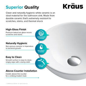 Kraus Elavo Ceramic Small Round Vessel Bathroom Sink, White