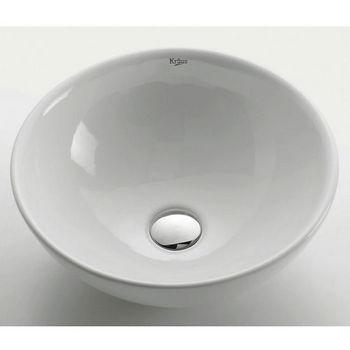"Kraus White Round Ceramic Sink with Pop Up Drain, 16"" Dia. x 6-1/4""H"