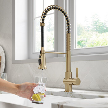 KRAUS Britt™ 2-in-1 Commercial Style Pull-Down Single Handle Water Filter Kitchen Faucet in Brushed Gold