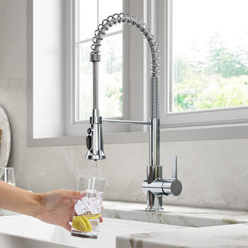 KRAUS Britt™ 2-in-1 Commercial Style Pull-Down Single Handle Water Filter Kitchen Faucet in Chrome