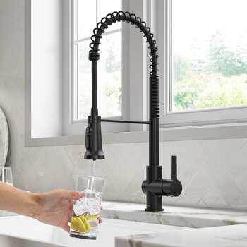 KRAUS Britt™ 2-in-1 Commercial Style Pull-Down Single Handle Water Filter Kitchen Faucet in Matte Black