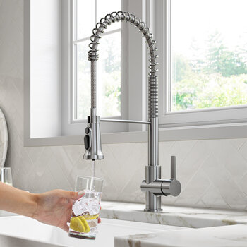 KRAUS Britt™ 2-in-1 Commercial Style Pull-Down Single Handle Water Filter Kitchen Faucet in Spot Free Stainless Steel