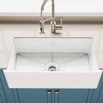 "Kraus Turino™ Reversible 33"" Fireclay Farmhouse Flat Apron Front Single Bowl Kitchen Sink with Bottom Grid, Gloss White"