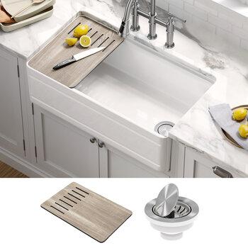 """KRAUS Turino™ Workstation 33"""" W Farmhouse Reversible Apron Front Fireclay Single Bowl Kitchen Sink"""