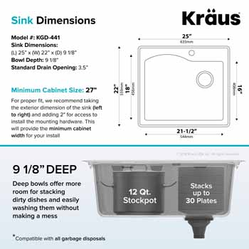 Kraus Grey Sink Dimensions