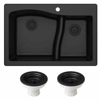 Kraus Black Sink with Strainer  Display View