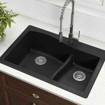 "33"" Dual Mount 60/40 Sink Black"