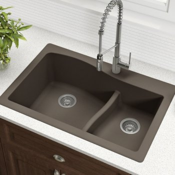 "33"" Dual Mount 60/40 Sink Brown"