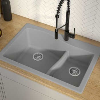 "33"" Dual Mount 60/40 Sink Grey"