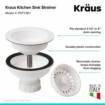 Kraus White Sink Strainer Information