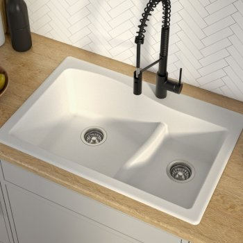 "33"" Dual Mount 60/40 Sink White"