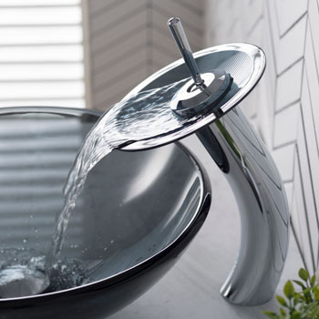 """Kraus Single Lever Vessel Glass Waterfall Faucet, Chrome with Black Frosted Glass Disk and Matching Pop Up Drain, 13""""H"""
