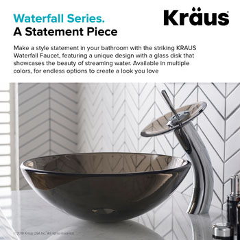 """Kraus Chrome Single Lever Vessel Glass Waterfall Faucet with Brown Clear Glass Disk and Matching Pop Up Drain, 13""""H"""