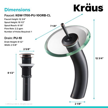 Kraus Single Lever Vessel Glass Waterfall Mixer with Matching Pop Up Drain, Oil Rubbed Bronze