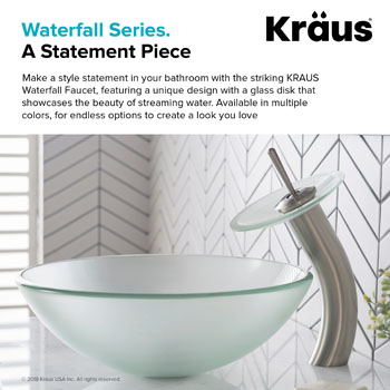 """Kraus Single Lever Vessel Glass Waterfall Faucet, Satin Nickel with Frosted Glass Disk and Matching Pop Up Drain, 13""""H"""
