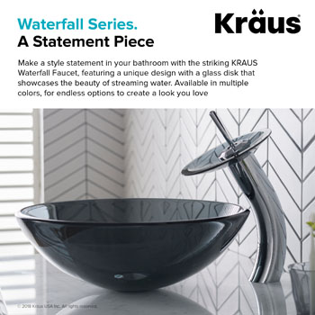 """Kraus Single Lever Vessel Glass Waterfall Faucet, Chrome with Black Clear Glass Disk, 13""""H"""