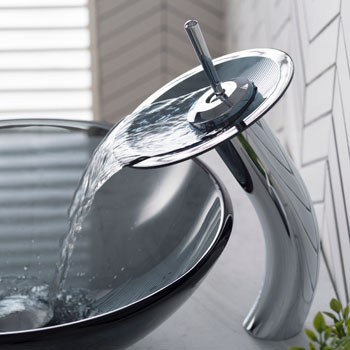 """Kraus Single Lever Vessel Glass Waterfall Faucet, Chrome with Black Frosted Glass Disk, 13""""H"""