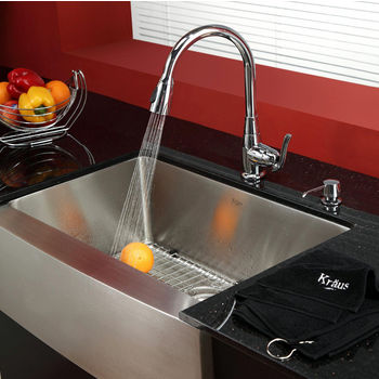 "Kraus 30"" Farmhouse Single Bowl Stainless Steel Kitchen Sink with 15-1/5""H Kitchen Faucet and Soap Dispenser"