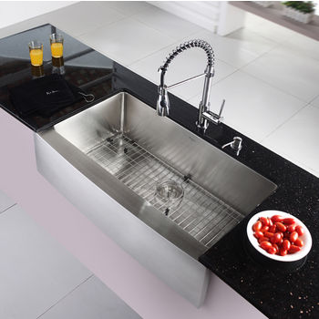 kraus 35 78 farmhouse single bowl kitchen sink with commercial style kitchen faucet soap dispenser in chrome - Kitchen Sink And Faucet Sets