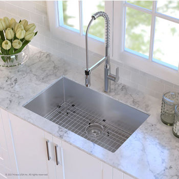 Kraus Undermount Single Bowl 16 Gauge Stainless Steel Kitchen Sink In 23 30 Or 32 W Sizes Kitchensource Com