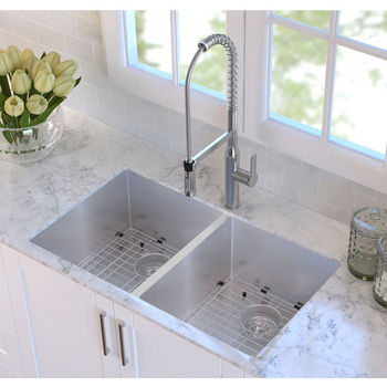 Exceptionnel Kraus 32 3/4u0027u0027 Undermount 50/50 Double Bowl 16 Gauge S/S Kitchen Sink With  NoiseDefend™ Soundproofing