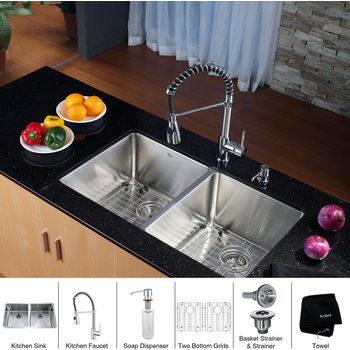 Kraus Stainless Steel 33 inch Undermount 50/50 Double Bowl Kitchen Sink and Chrome Dual Pull-out Spray Head Faucet and Dispenser, Chrome