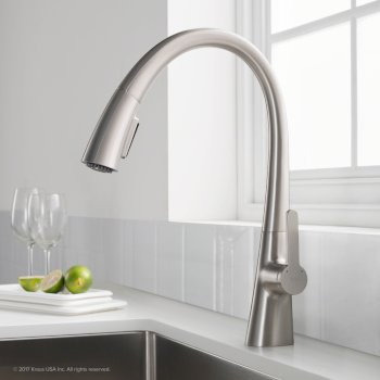 "Kraus Nolen™ Single Handle Pull Down Kitchen Faucet with Dual Function Sprayhead in all-Brite™ Spot Free Stainless Steel Finish, Faucet Height: 16-3/8"", Spout Reach: 9-1/8"""